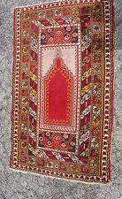 """Antique Decorative Turkish Ushak / Oushak Prayer Rug Size 67"""" x 39"""""""