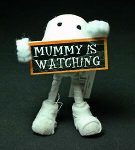 "5.3"" Felted Wool And Gauze Mummy Holding Mummy Is Watching Sign"