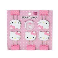 Hello Kitty Face Shape Double Clip Set Japan