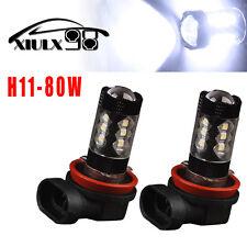 2X H11 High Power Projector Lens 80W Cool White Led Fog Daytime Running Light