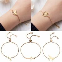 Stainless Steel Gold Crystal Chain Bracelet Women Charm Cuff Bangle New Jewelry