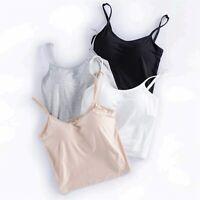 Women Built-in Padded Camisole Yoga Bra Longline Adjustable, Black, Size Medium