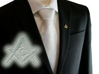 """Freemasons Masonic White Tie with Discreet Square and Compass with """"G"""" Pattern"""