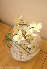BEAUTIFUL ARTIFICIAL SILK FLOWER ARRANGEMENT CREAM ORCHID IN GLASS BOWL & WATER