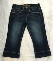 Maurices Womens Jean 5/6 32x20 Crop Capri Dark Flap Pockets Thick Stitch STRETCH