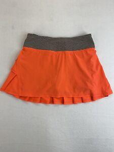 Lululemon Run Womens Size 2 Pace Setter Skirt Tonka Stripe Cashew Orange