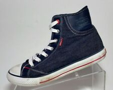 bfb91d555a153d Vintage Levis Denim High Top Sneakers Black Red Stripe Grommet 80 s
