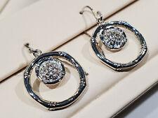 Earrings Sterling Silver w/ White Topaz John Hardy Designer Bamboo Lava Drop