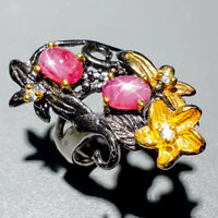 Lover Jewelry Natural Star Ruby 925 Sterling Silver Ring Size 7.5/R123886