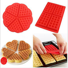 Silicone Red Waffles Pan Baking Baked Muffin Cake Chocolate Mold Mould Tray 7844