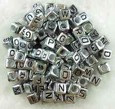 100pcs 6mm Acrylic Mixed Alphabet Letter Coin Square/Round Flat Spacer Beads