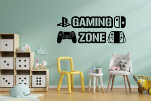 Gaming Zone Wall Stickers Nintendo + PS4 Dual Controller Gamer Vinyl Decals GB5