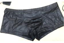 Sexy Gay Underwear Men Faux Leather Boxers Shorts Low Waist U Convex Pouch M-XXL