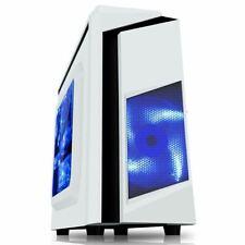 White Micro ATX Gaming PC Case 12CM Blue LED Fan Side Window USB 3.0 CiT F3 mATX