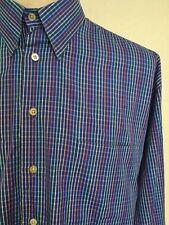 SAKS FIFTH AVENUE ~ Button Up Dress Shirt ~ Medium Purple Check ~ Large