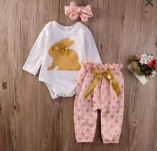 Easter Infant Girls Pink/Gold Bunny Bodysuit & Pant Set with Headband NEW 3-6M