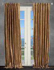 100% Dupioni Silk Drapes, Bronze Brown 50X96 window treatments, 2 Panels. NEW!