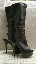 "6"" Stiletto Heel Open Toe Knee High Boot Stud Adjust String Strap Zipper Size 9"