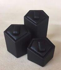 Set of 3 Ring Stands (Diamond Black) Jewellery Displays (3cm, 4cm & 5cm Height)