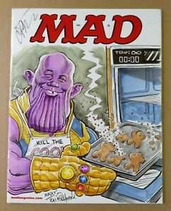TOM RICHMOND, JIM STARLIN SIGNED MAD SKETCH COVER-THANOS & INFINITY OVEN MITT!
