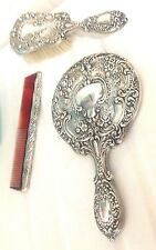 Antique GORHAM STERLING SILVER Brush, Mirror, Comb Set VICTORIAN CHASED VINTAGE