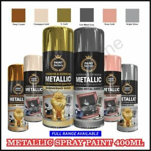 Metallic Spray Paint Aerosol Gold,Bright Silver, Gun Metal Grey Wood Metal 400ml