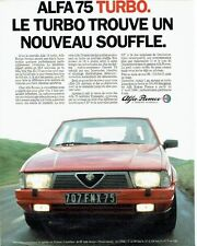 PUBLICITE ADVERTISING 037  1986  Alfa Romeo  Alfa 75 turbo
