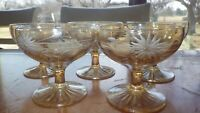 Yellow Amber etched champagne glasses sherbets wheel cut floral design 5 6oz ste