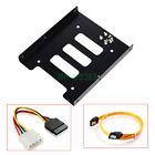 """2.5"""" to 3.5"""" Bay SSD Metal Hard Drive HDD Mounting Bracket Adapter Tray w/ Cable"""
