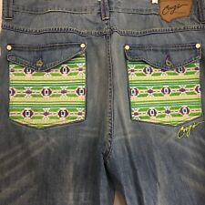 Coogi Jeans 46 X 36 Purple Lime Green Aztec Embroidered Hip Hop Baggy