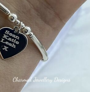 sterling silver stretch stacking bracelet heart charm names engraved ladies 925