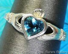 Blue Stone Heart Claddagh Sterling Silver 925 Estate Engagement dainty RING sz 7