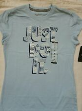 NIKE GIRLS JUST DO IT T-SHIRT SKY BLUE SZ m WATCH ME GO JUST DO IT BEST LOOK NWT
