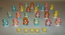 "Care Bear  2"" Figures / Cake Toppers - Lot of 24 Plus 5 Crowns"