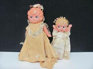 Vintage Celluloid Bride Dolls All Original 1930's Lot of 2