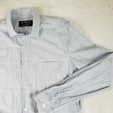 2a9394074 Top Man Mens S Dress Shirt Casual Blue Chambray Button Pocket Turkey