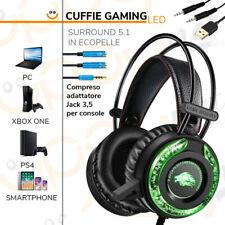 Cuffie gaming gioco 5.1 surround microfono volume LED per XBOX ONE PS4 PC MAC