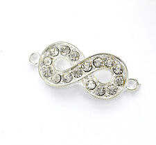 2 Rhinestone BRIGHT SILVER INFINITY Connector Charms 33mm long . chs0422