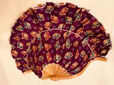 Vintage Oriental Hand Fan S-Shaped, Purple/ Gold Color, Chinese, Japanese ?
