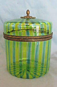 Rarely Seen Vintage Mottahedeh Venetian Glass Lidded Round Canister