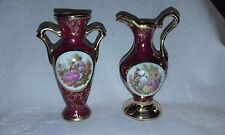2 Vintage Limoges Porcelain d'Art RP Porcelain Bud  Vases / Urns 10.5cm High