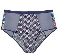 Victorias Secret High Waist Panty Satin Mesh Cheeky Brief Blue NWT S Small