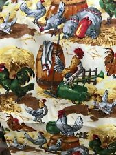 Hens Chicken Rooster COTTON FABRIC on Cream  Concord BTY