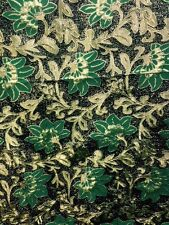 Brocade Zari Floral Black / Gold /green 58""