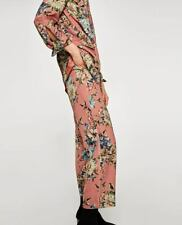5d993984 Zara Salmon Pink Loose Fit Floral Print Trousers With Elastic Waistband S  BNWT