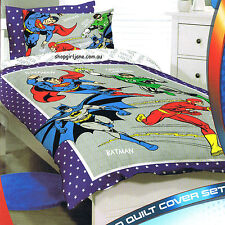 Justice League Batman Superman grey - Double/US Full Bed Quilt Doona Duvet Cover