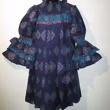 Dress Fit L XL 1X 2X 3X Plus Blue Teal Ankara African Wax Print Pleat NWT BR 100