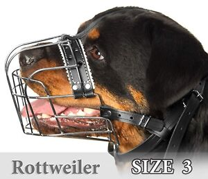 Rottweiler Metal Muzzles for Dog Size #3 Wire Basket Adjustable Leather Straps