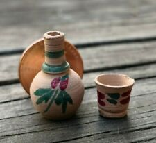 VTG ARTISAN MINIATURE DOLLHOUSE MEXICAN POTTERY LONG NECK WATER JAR & DRINK CUP