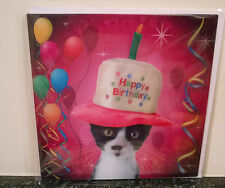 3D Lenticular Greeting Card Birthday Cat Hat On head & candle Size 16x16 cm apro